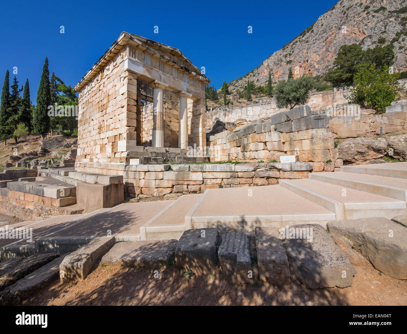 The reconstructed Treasury of Delphi, built to commemorate their victory at the Battle of Marathon. Greece Stock Photo