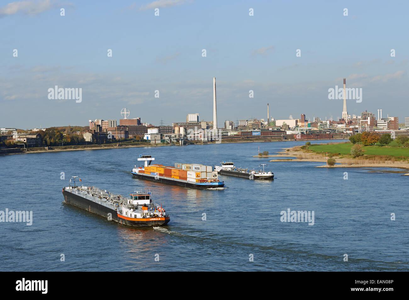 Commercial shipping river Rhine, Krefeld, North Rhine-Westphalia, Germany. - Stock Image