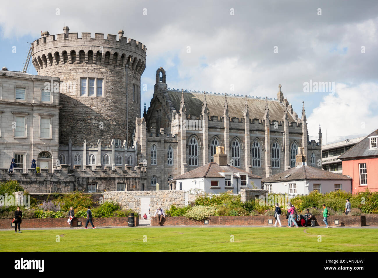 Dublin, Ireland - Aug 11, 2014: Record Tower and Chapel Royal of Dublin Castle  in Dublin, Ireland on August 11, - Stock Image