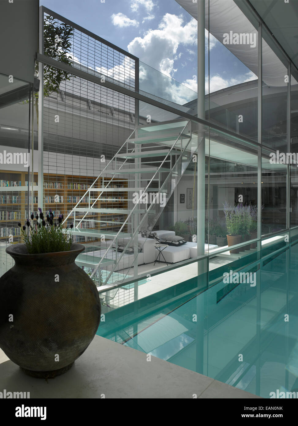 View From Indoor Swimming Pool To Living Room With Retractable Roof,  Lavender House, Hampstead, London
