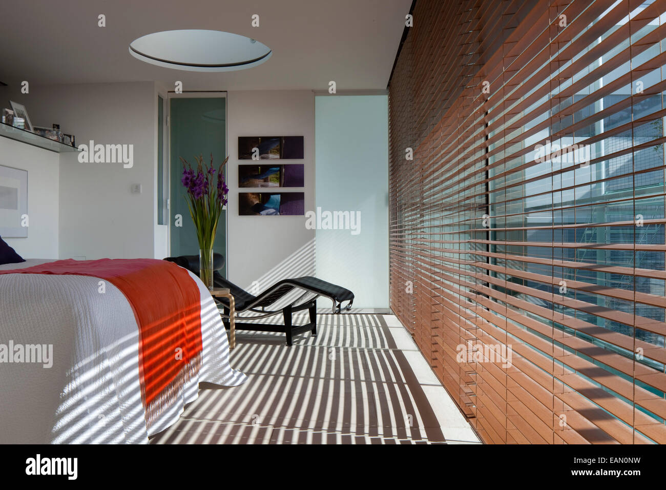 Light Filters Through Venetian Blinds Into Modern Bedroom, Lavender House,  Hampstead, London
