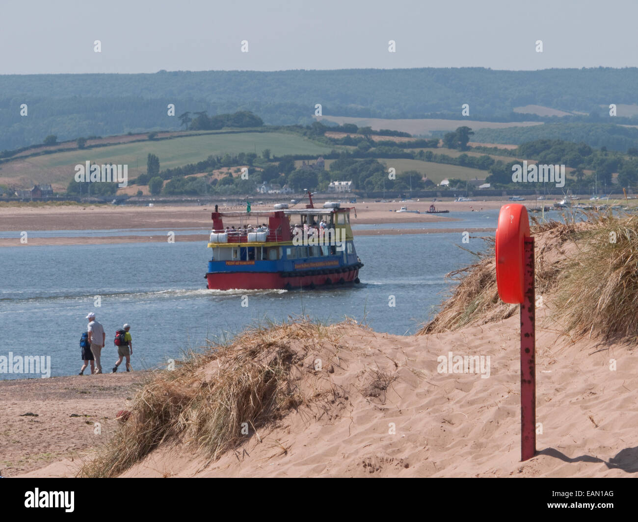 The River Exe Estuary with Pleasure Trip Boat, Exmouth, Devon, England Stock Photo
