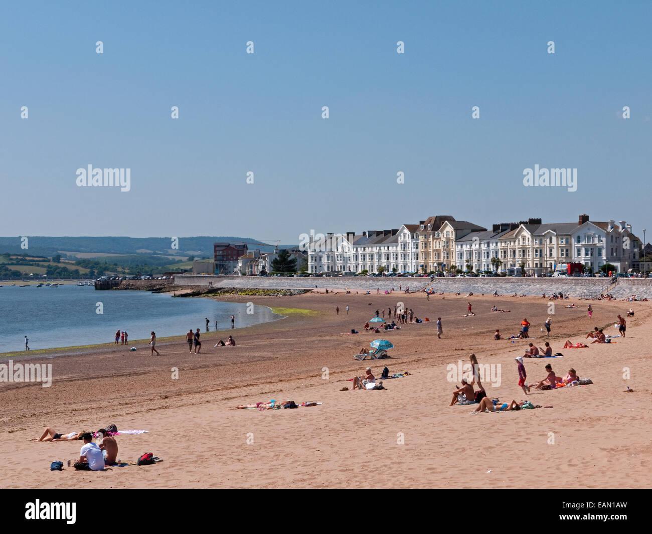 Exmouth's Beach, Esplanade and Coastline towards The River Exe Estuary, Exmouth, Devon, England - Stock Image