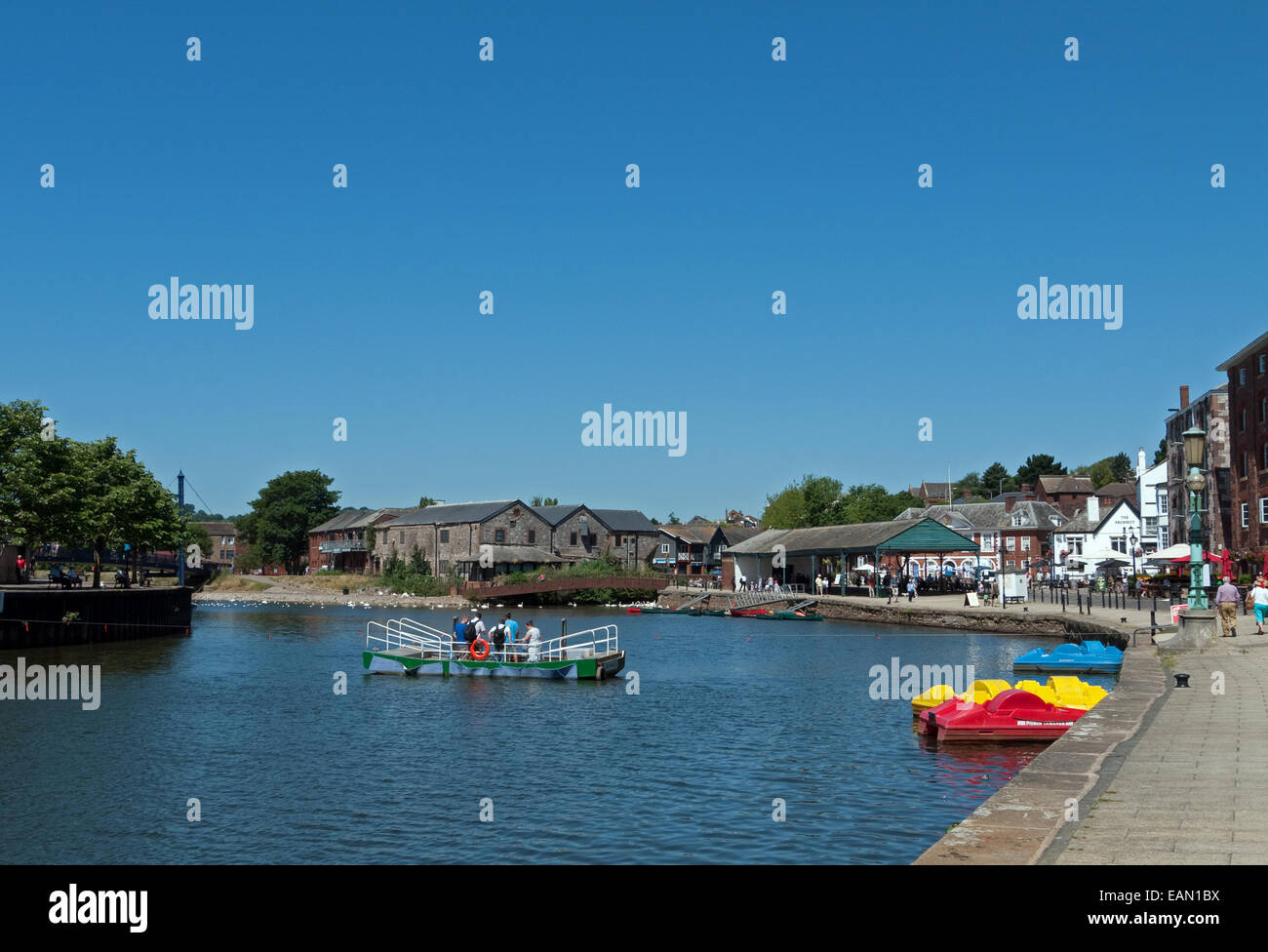 The River Exe beside Exeter's Historic Quayside, with human powered ferry, Exeter, Devon, England - Stock Image