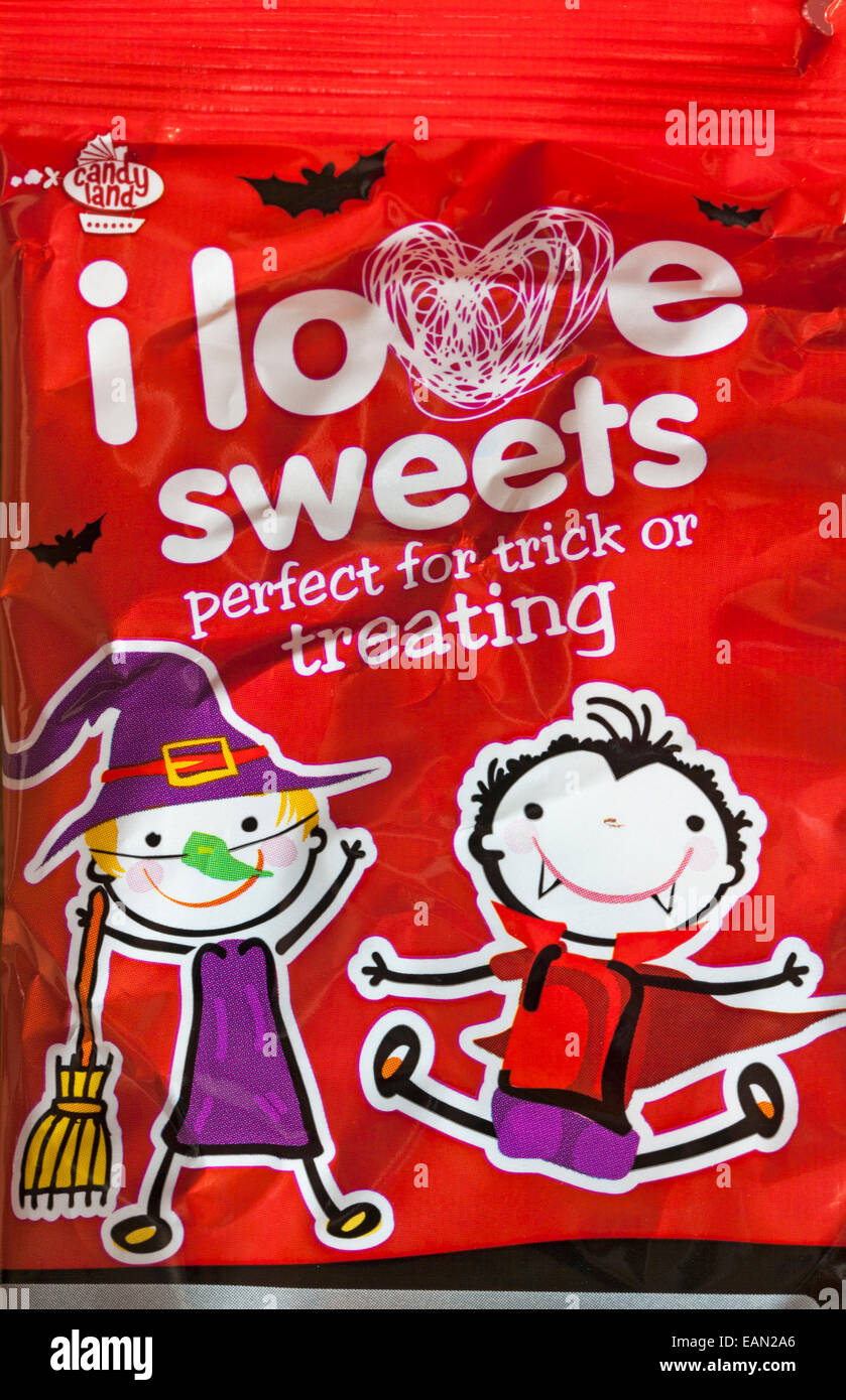 bag of I Love Sweets perfect for trick or treating - ideal for Halloween - Stock Image