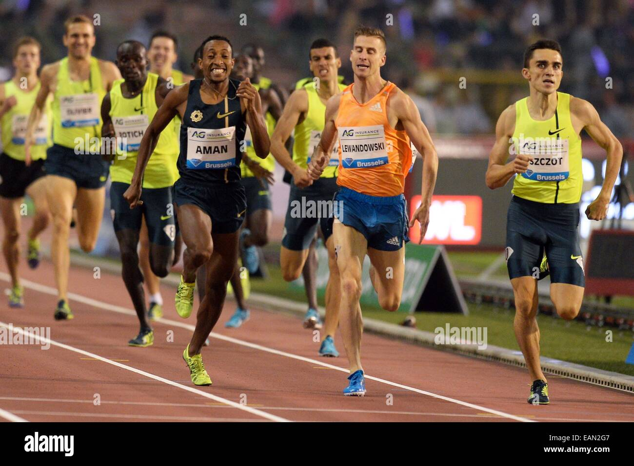 Brussels, Belgium. 05th Sep, 2014. IAAF Athletics Memorial Van Damme meeting. Mohammed Aman (ETH), Marcin Lewandowski - Stock Image