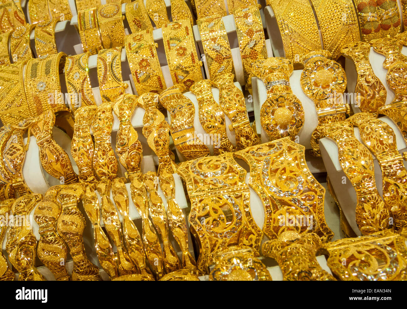 Gold Bracelets On Display At A Jewelry Store In The Gold