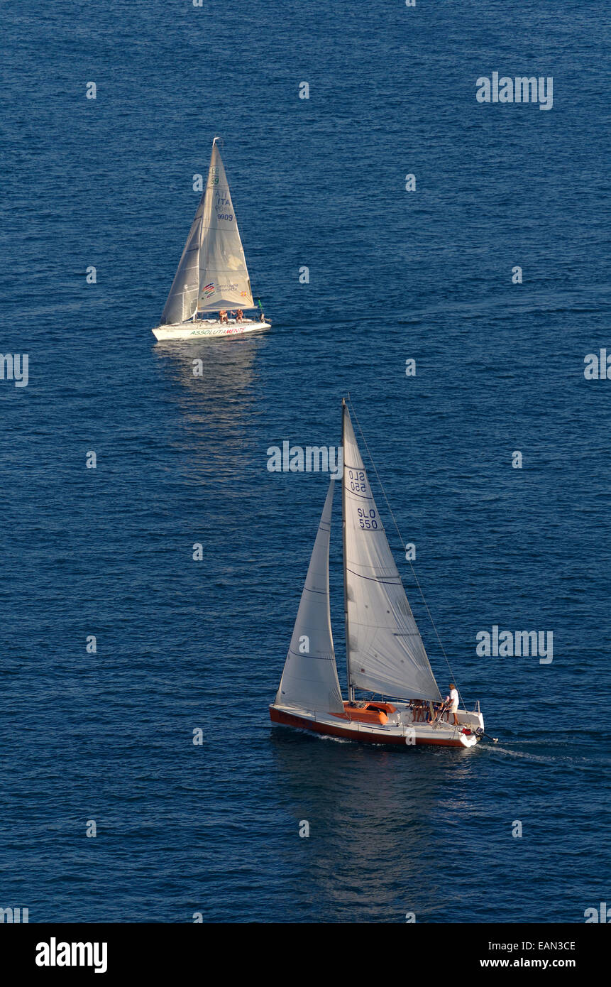 Sailing yacht cruiser/racers sailing on a collision course with close hauled boat in foreground having 'Right - Stock Image