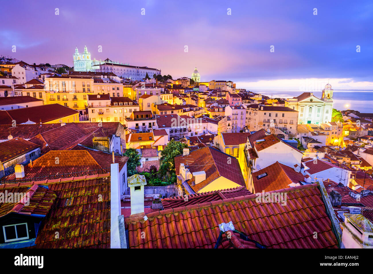 Lisbon, Portugal skyline at Alfama, the oldest district of the city. - Stock Image
