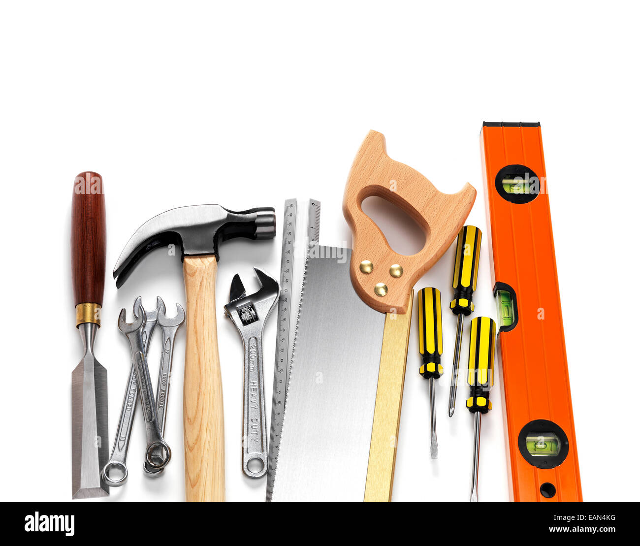 Selection of work tools isolated on a white background - Stock Image