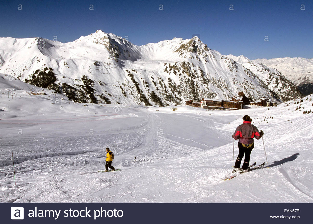 Les Arcs and snow slope. Savoie, France - Stock Image