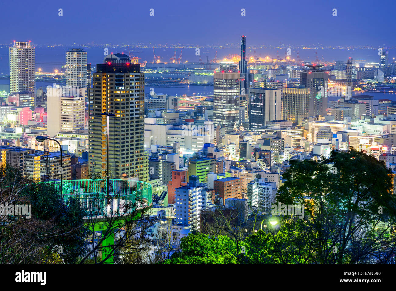 Kobe, Japan city skyline at twilight. - Stock Image