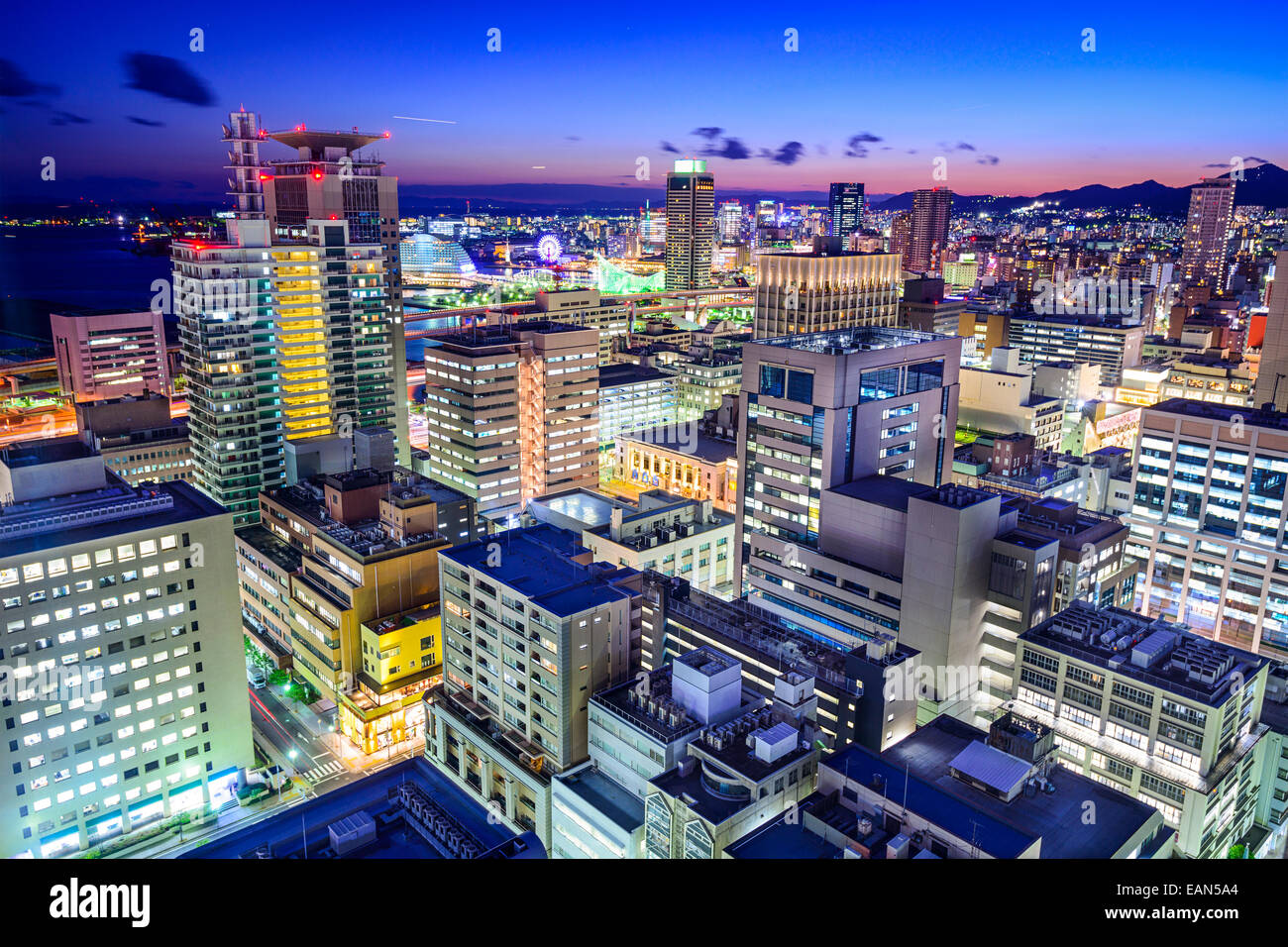Kobe, Japan cityscape in the Motomachi and Port district. Stock Photo