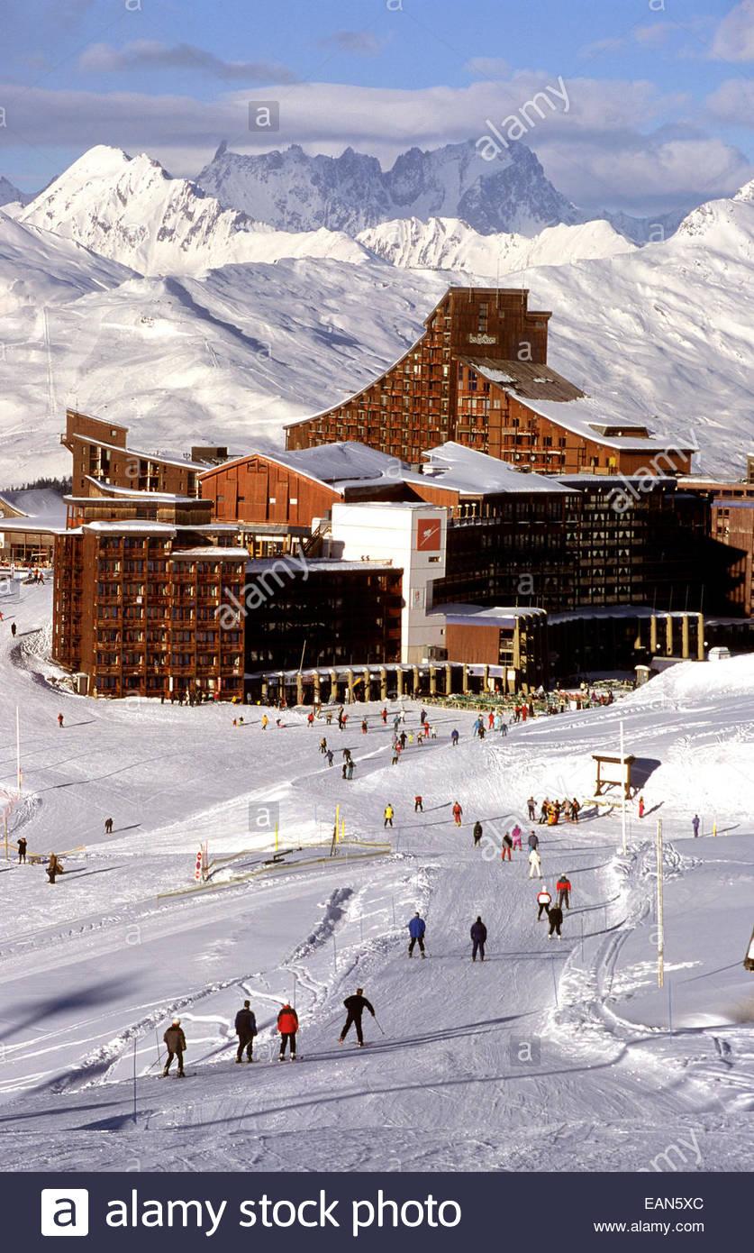 Les Arcs village. Savoie, France - Stock Image