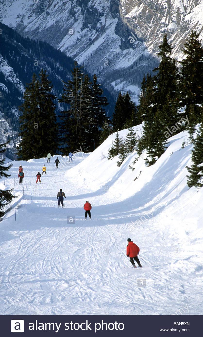 Ski slope. Les Arcs village. Savoie, France - Stock Image