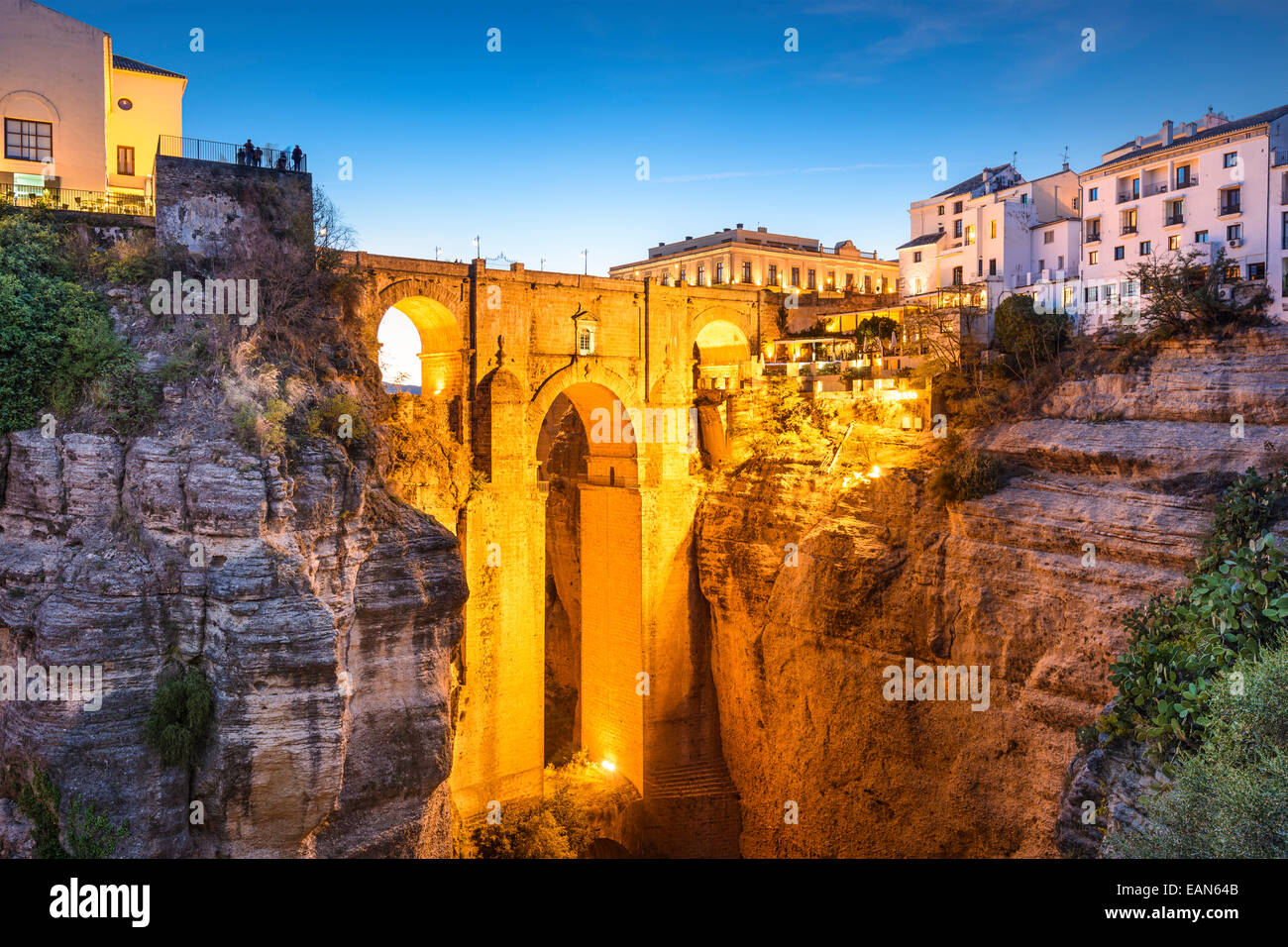 Ronda, Spain at Puente Nuevo Bridge. Stock Photo