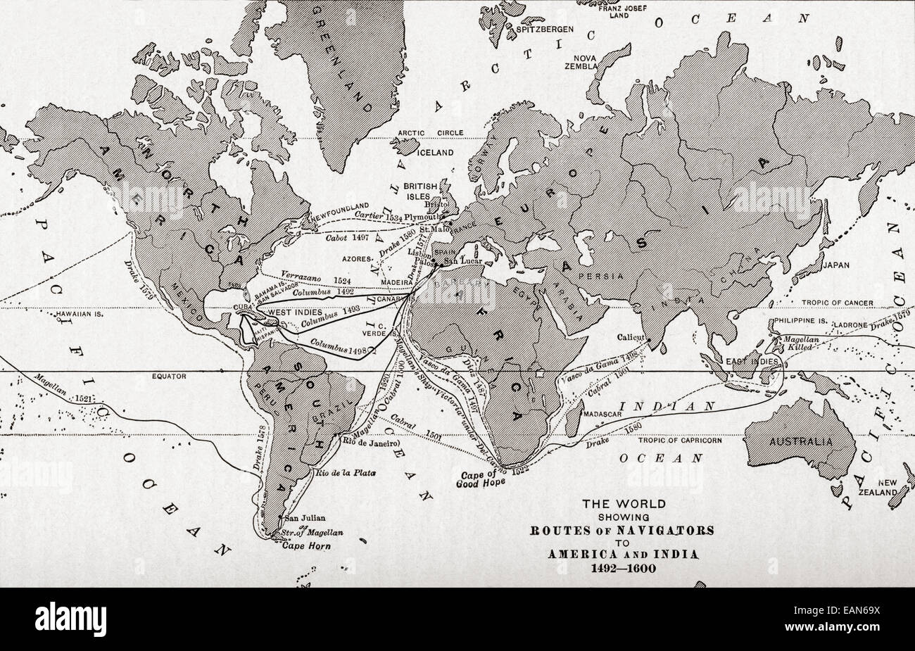 Map of the world showing the routes of navigators to America and ...