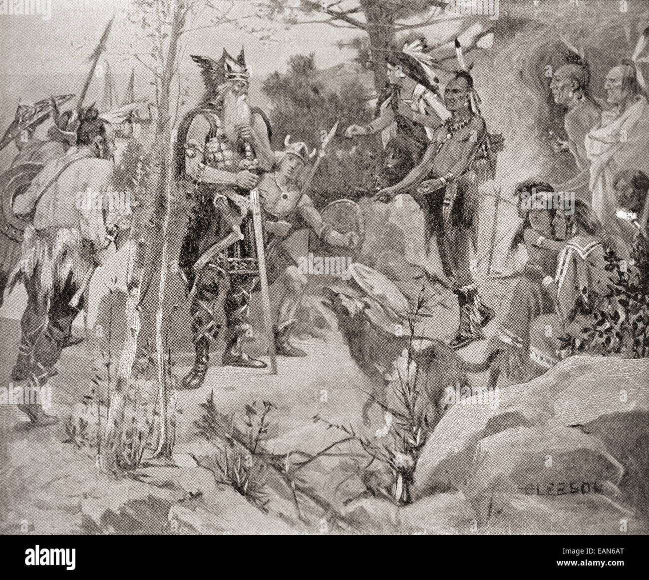 The first meeting between the Norsemen and the natives of North America in the 11th century. - Stock Image