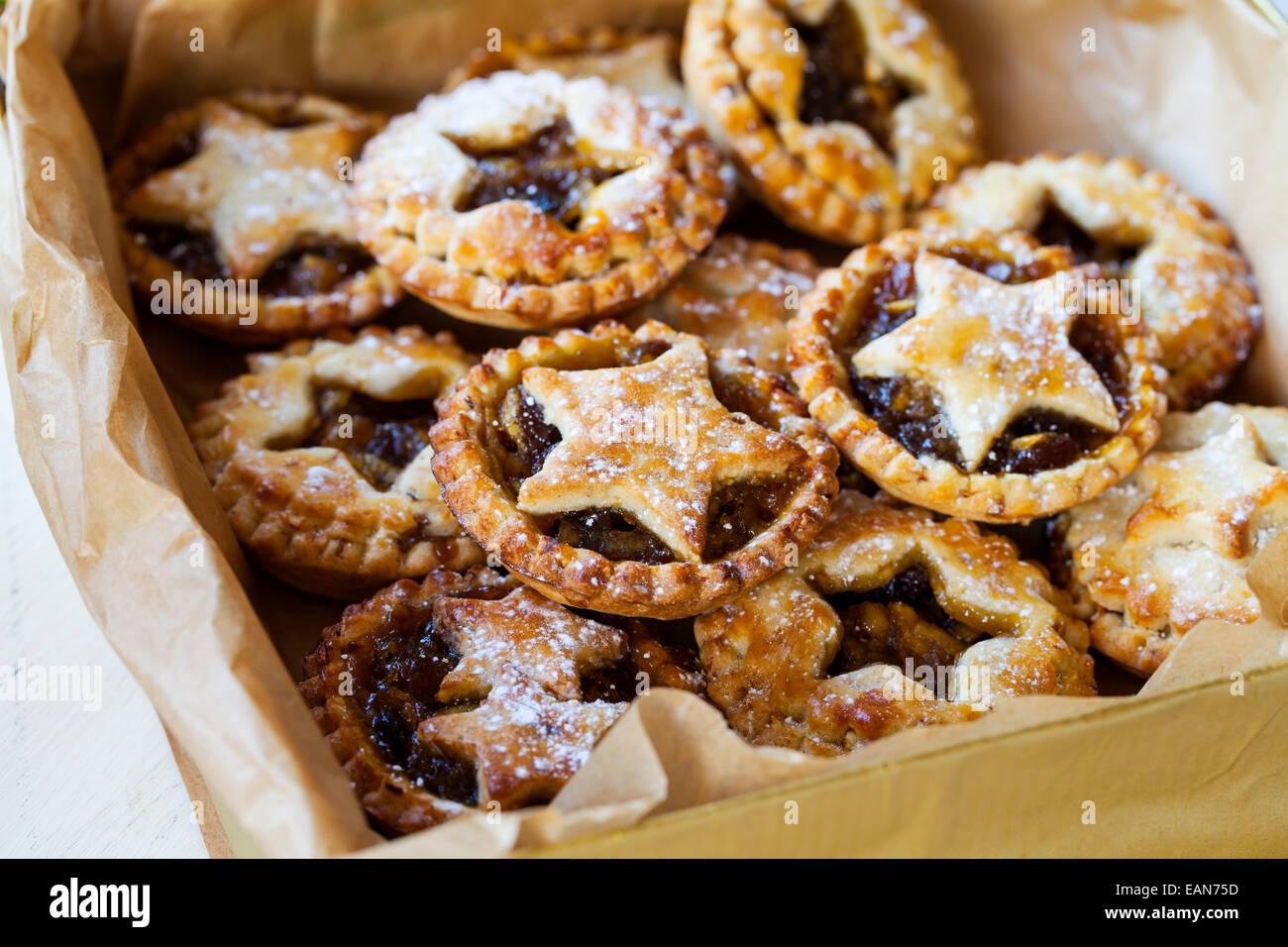 Traditional Christmas mice pies Stock Photo