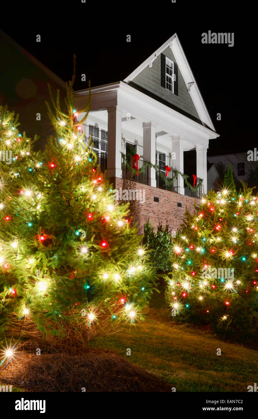 Outdoor Christmas Trees Have Been Decorated With Red Green And White Stock Photo Alamy