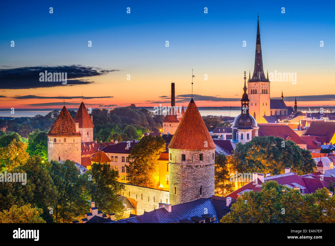 Tallinn, Estonia old city skyline at dawn. - Stock Image