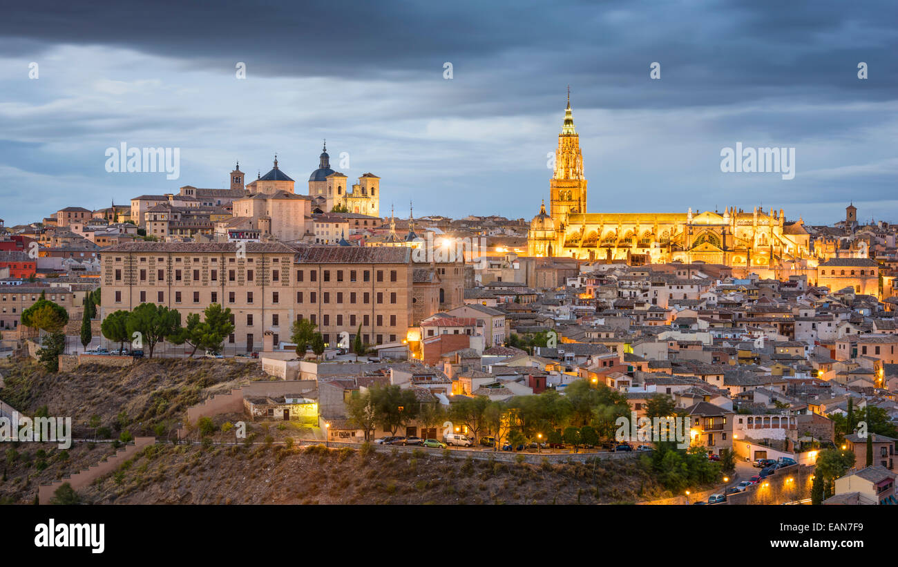 Toledo, Spain town skyline at dusk at the Cathedral. - Stock Image