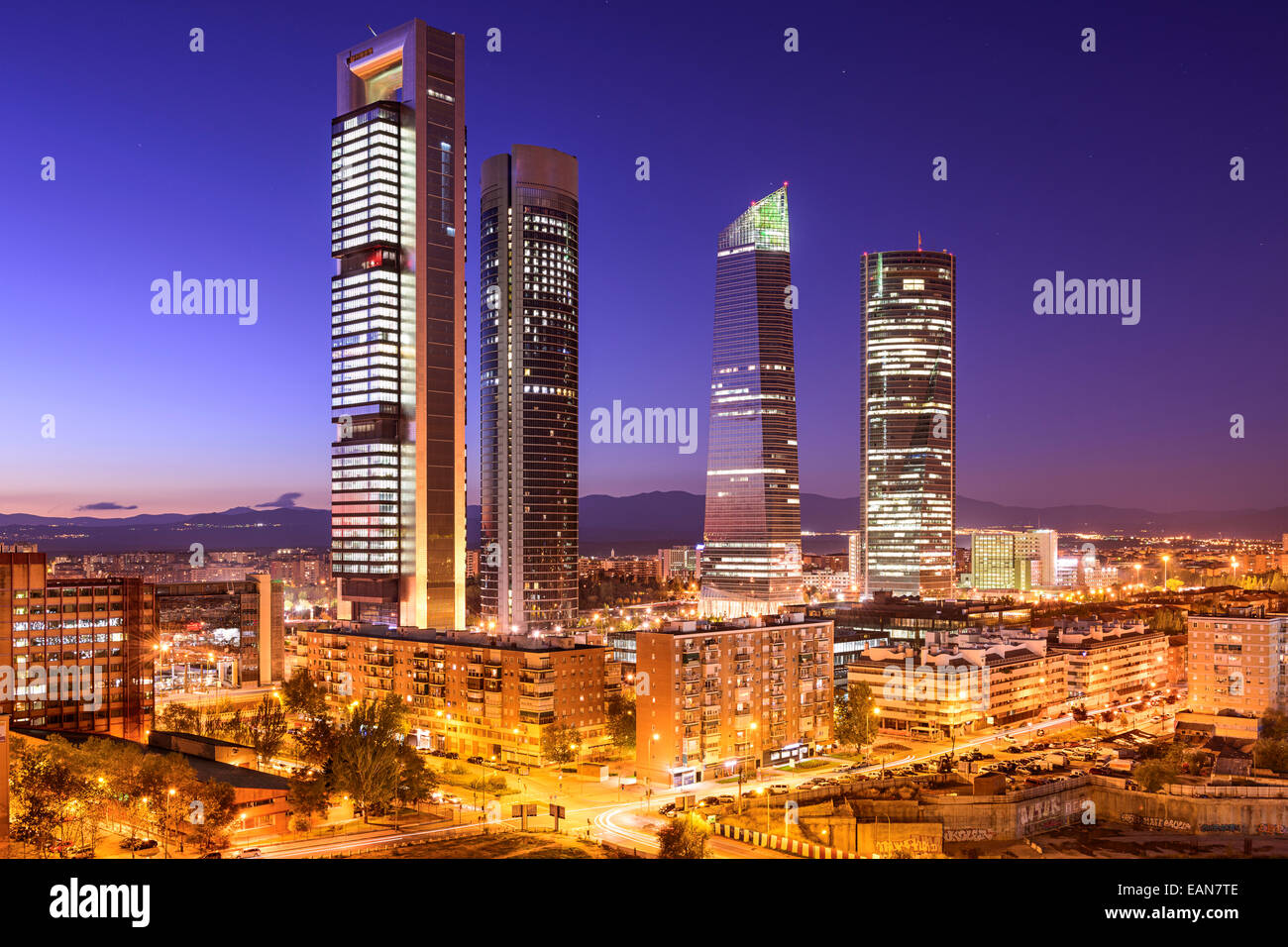 Madrid, Spain financial district skyline at twilight. - Stock Image