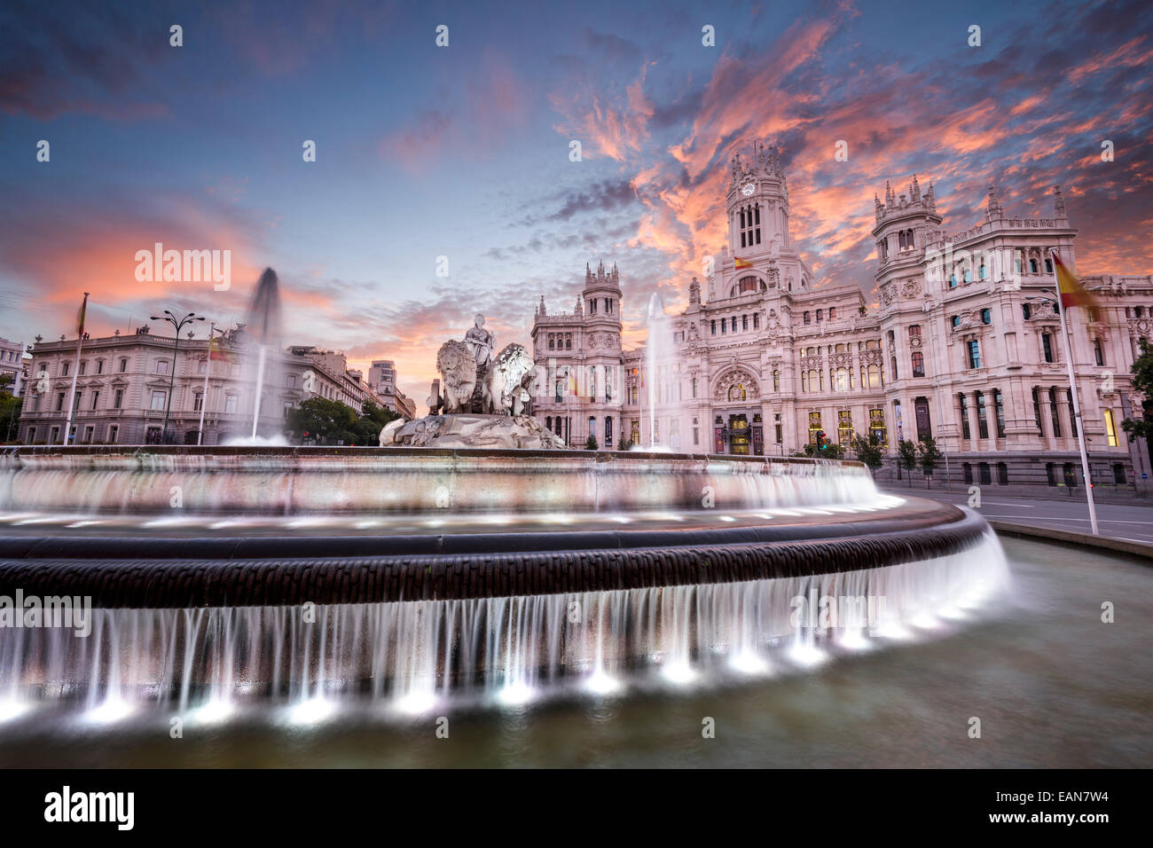 Madrid, Spain at Communication Palace and Cibeles Plaza. - Stock Image