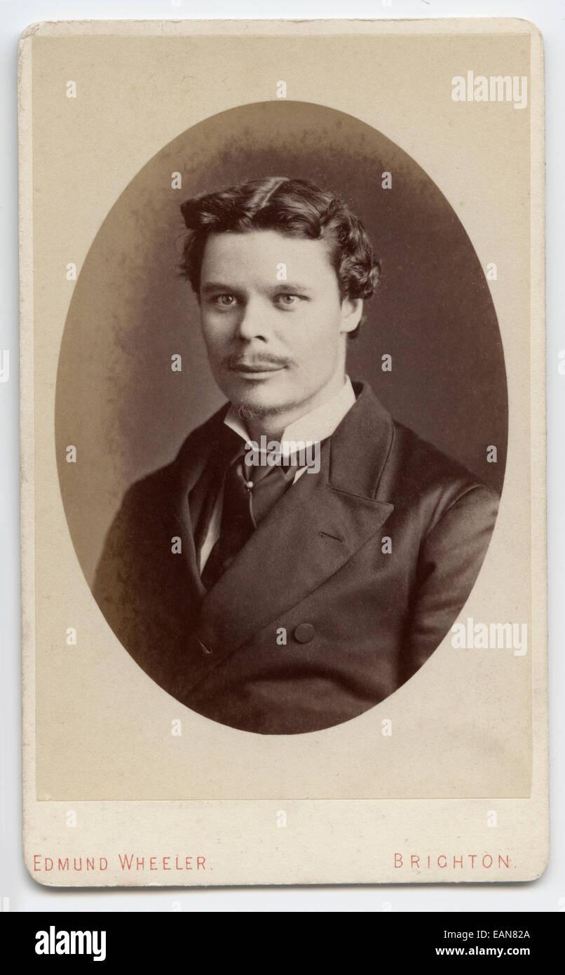 Victorian Carte De Visite Portrait Of A Young Man Taken In The Studio Edmund Wheeler Brighton UK Circa 1885
