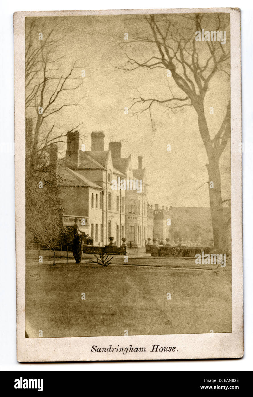 Victorian Carte De Visite Photograph Of Sandringham House Owned By Queen Elizabeth II Photographed W R Pridgeon Circa 1865