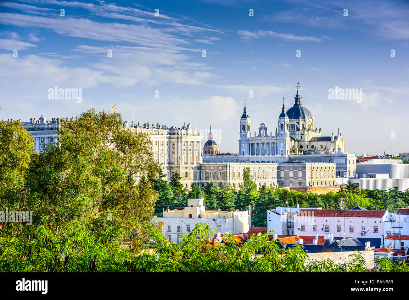 Madrid, Spain skyline at Santa Maria la Real de La Almudena Cathedral and the Royal Palace. Stock Photo
