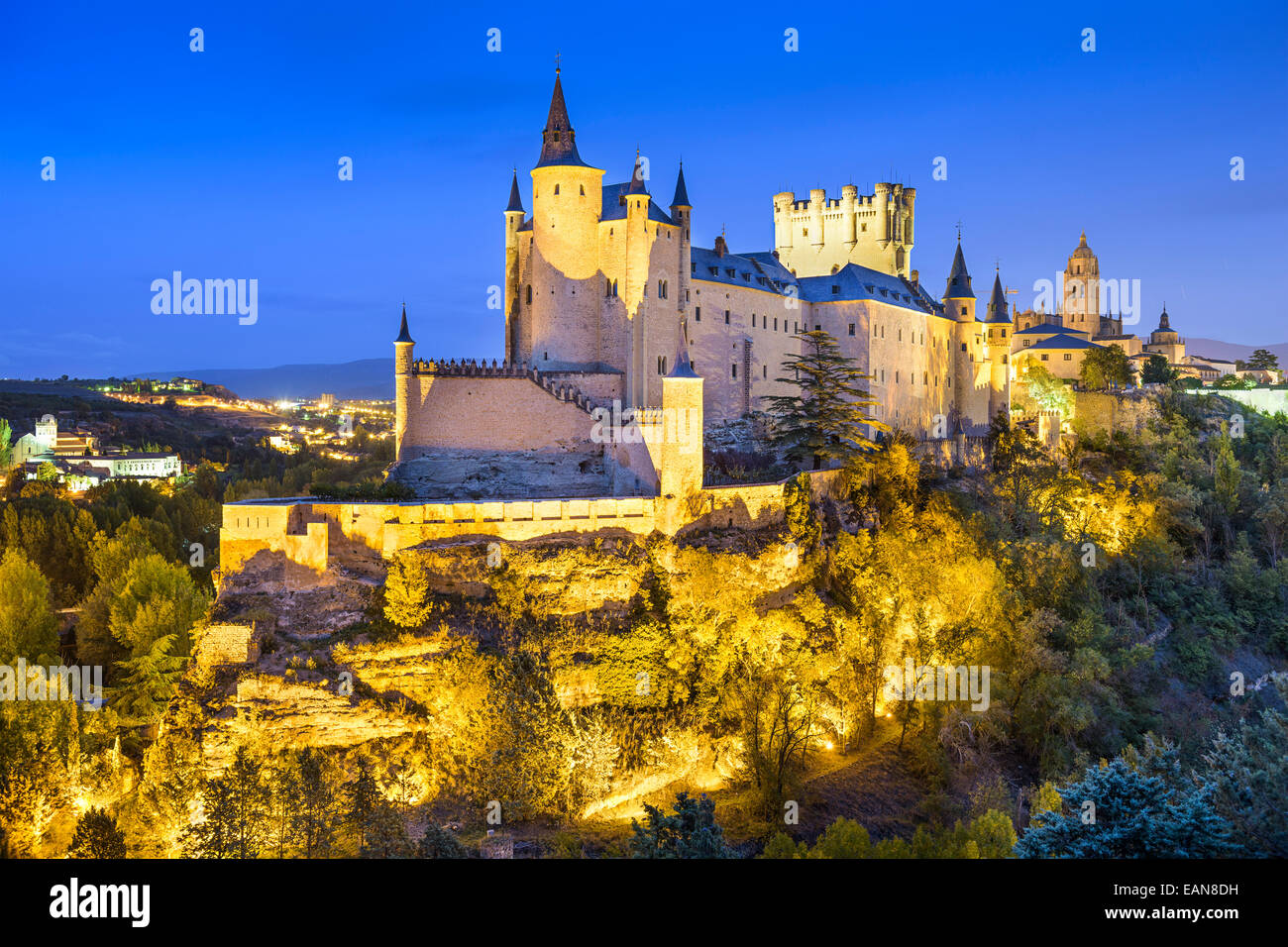 Segovia, Spain town skyline with the Alcazar at night. - Stock Image