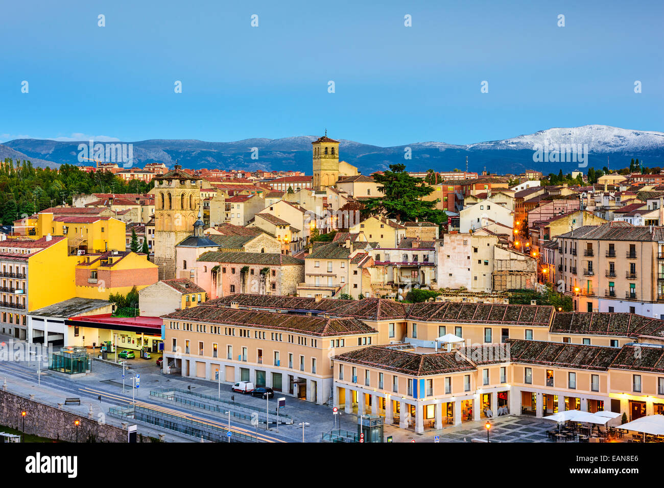 Segovia, Spain town skyline at dusk. - Stock Image