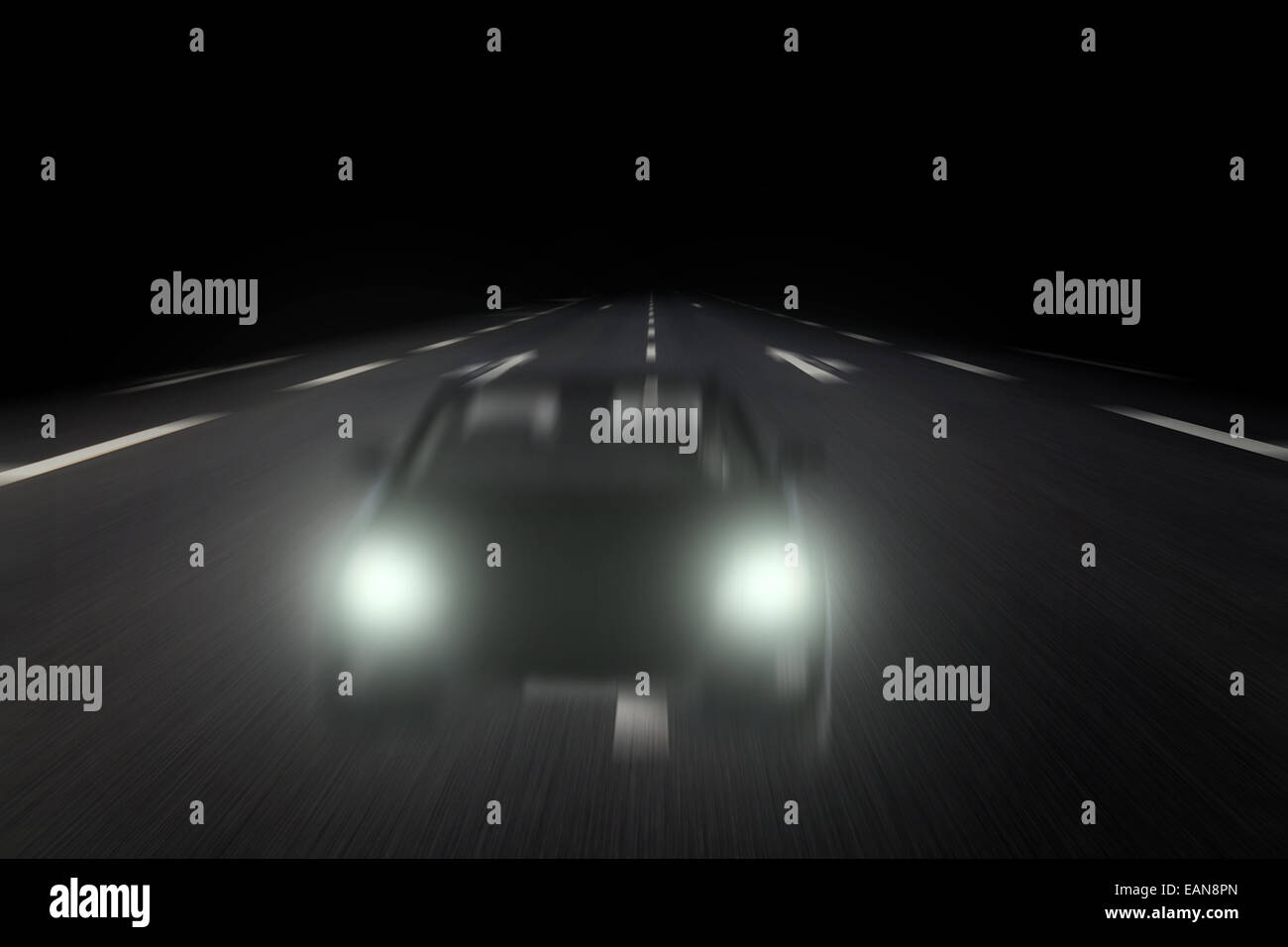 wrong-way driver on highway - Stock Image
