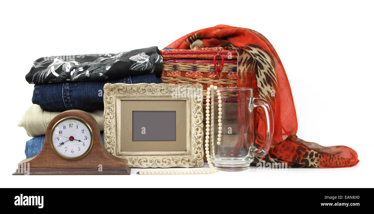 Variety of no longer used items for sale - Stock Image
