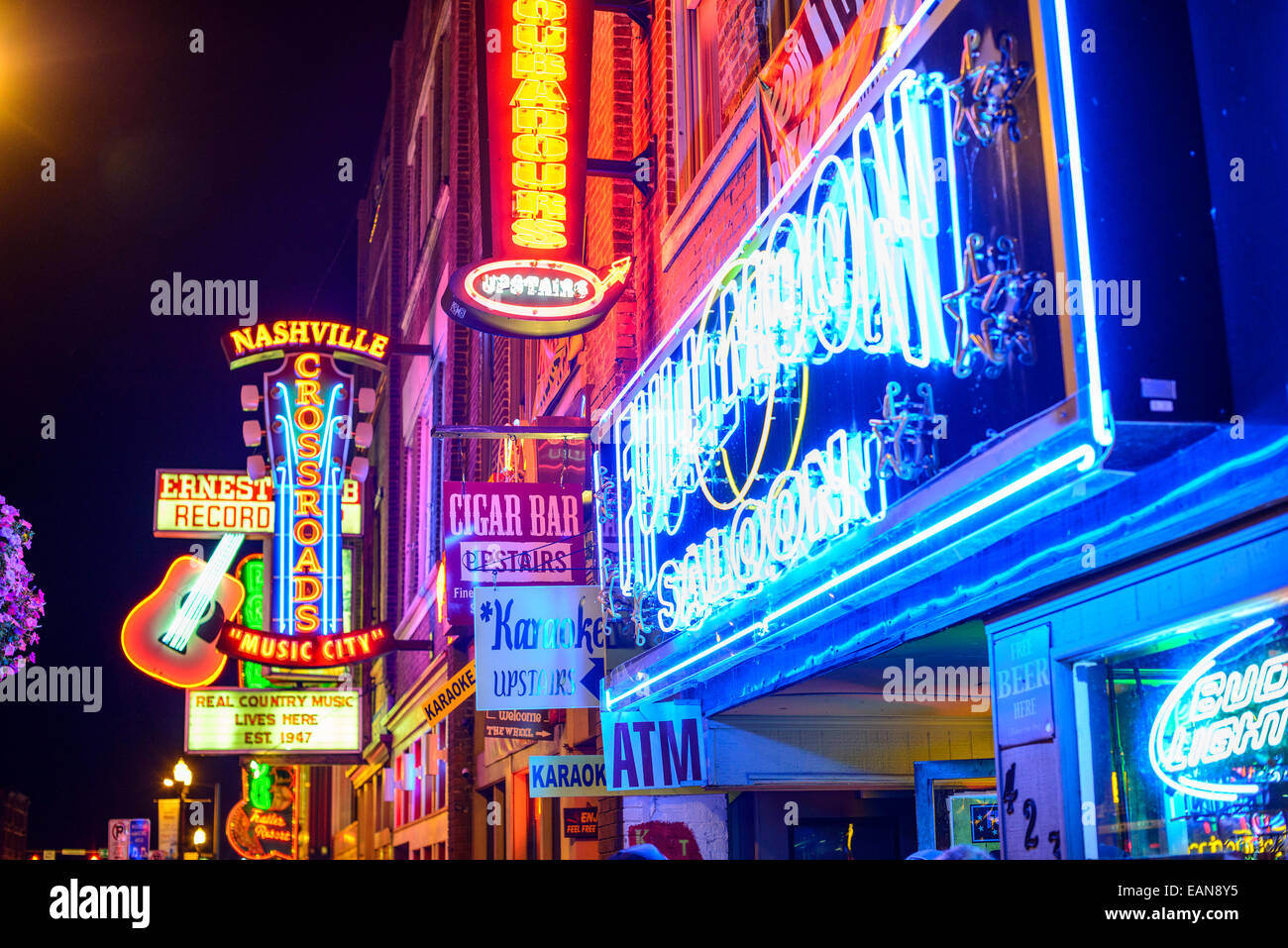 Honky-tonks on Lower Broadway. The district is famous for the numerous country music bars. - Stock Image
