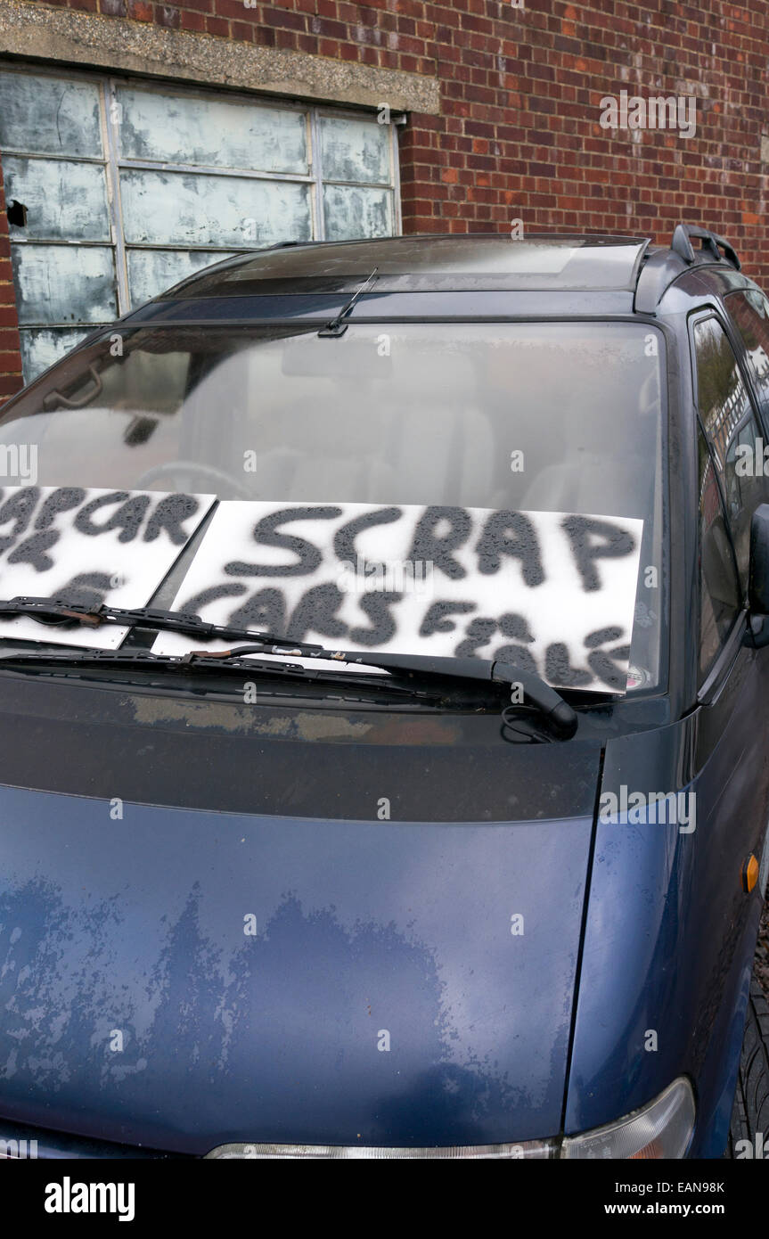 Junkyard Cars For Sale >> Scrap Cars For Sale Sign On The Windscreen Of Car Stock