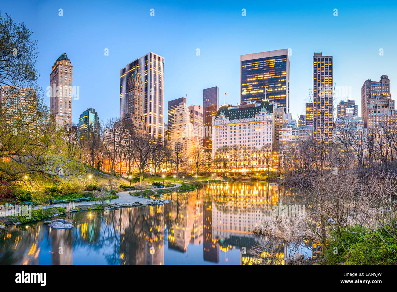 New York City, USA Manhattan cityscape from the Lagoon in Central Park. Stock Photo