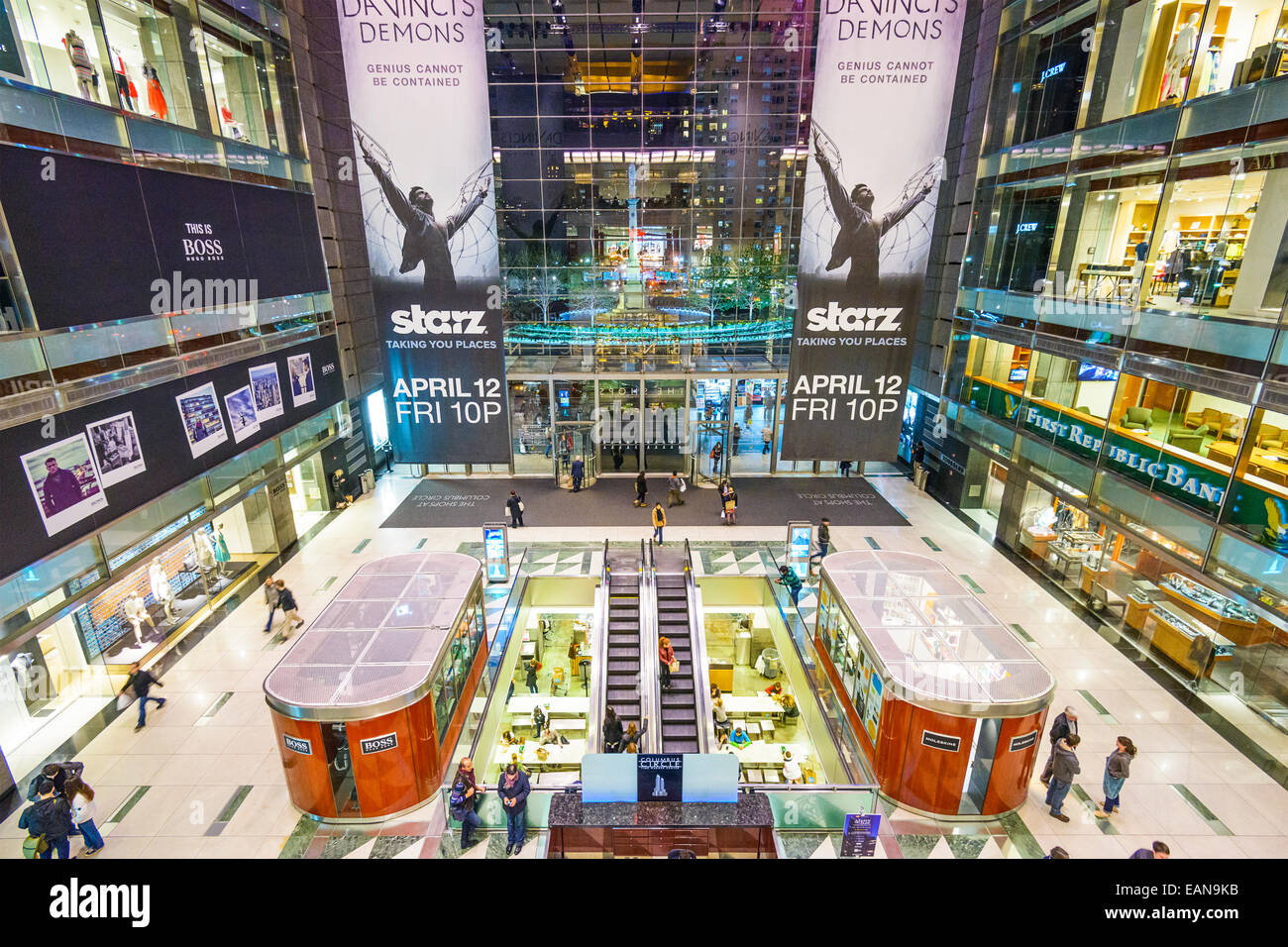 Time Warner Center Mall in New York City. - Stock Image