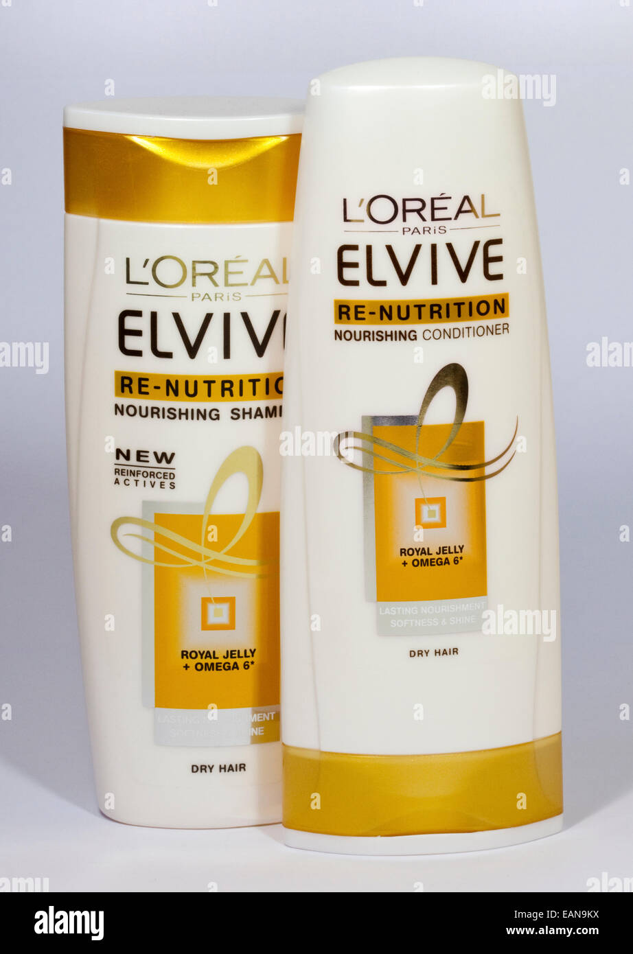 L'Oreal Elvive Re-Nutrition Shampoo and Conditioner for Dry Hair - Stock Image