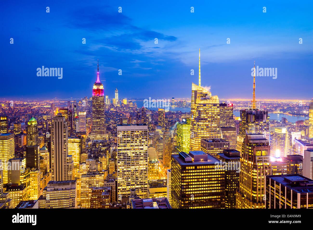 New York City, USA city skyline of midtown Manhattan. - Stock Image
