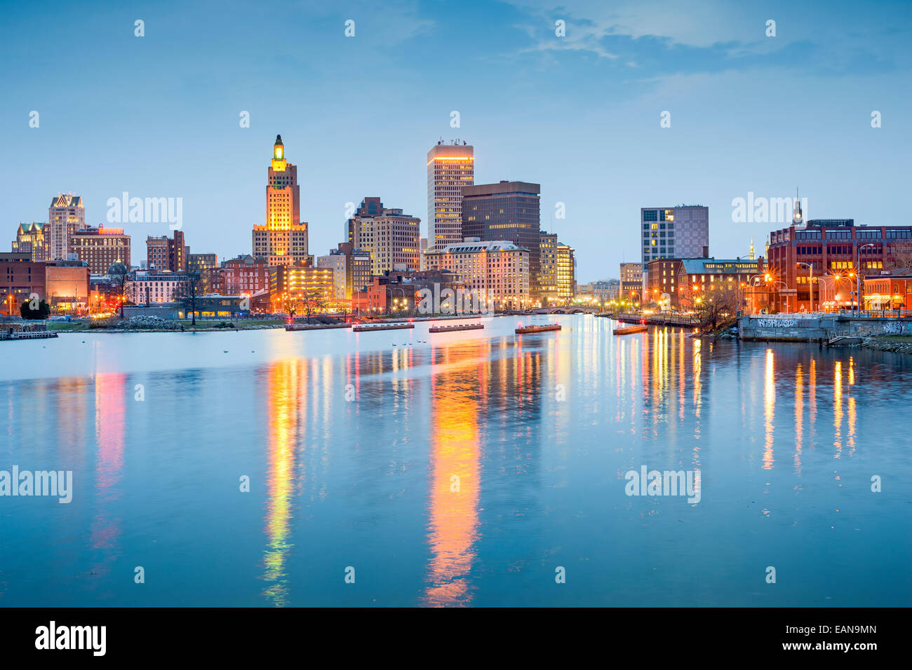 Providence, Rhode Island, USA city skyline on the Providence River at twilight. - Stock Image