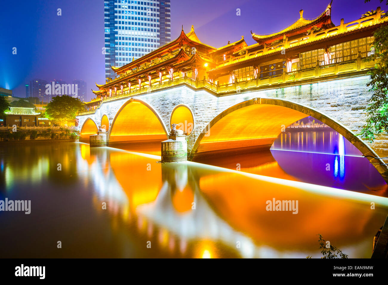 Chengdu, Sichuan, China at Anshun Bridge over the Jin River. - Stock Image