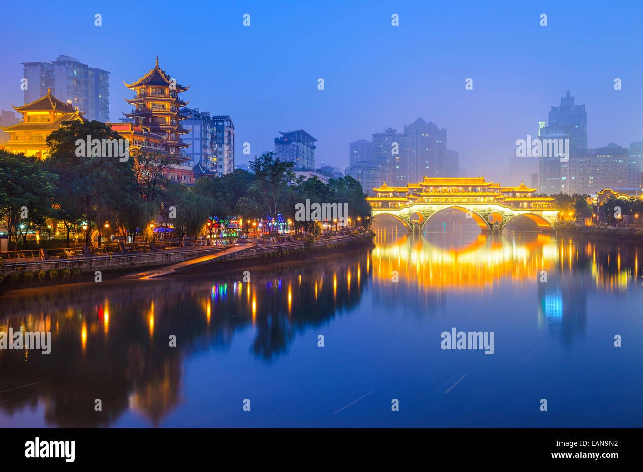 Chengdu, Sichuan, China cityscape over the Jin River. - Stock Image