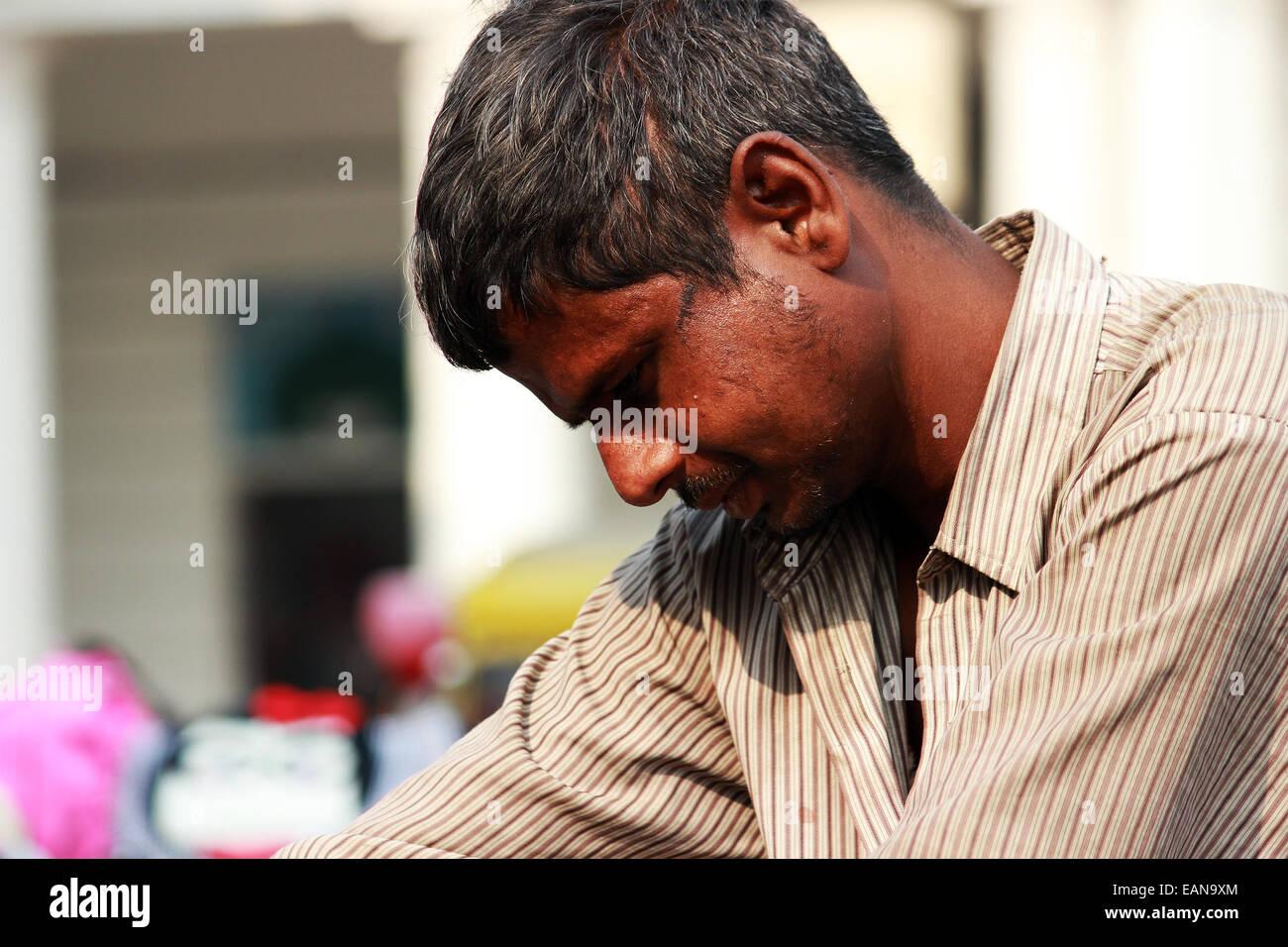man, male, clothe, black, indian, new Delhi, India. - Stock Image
