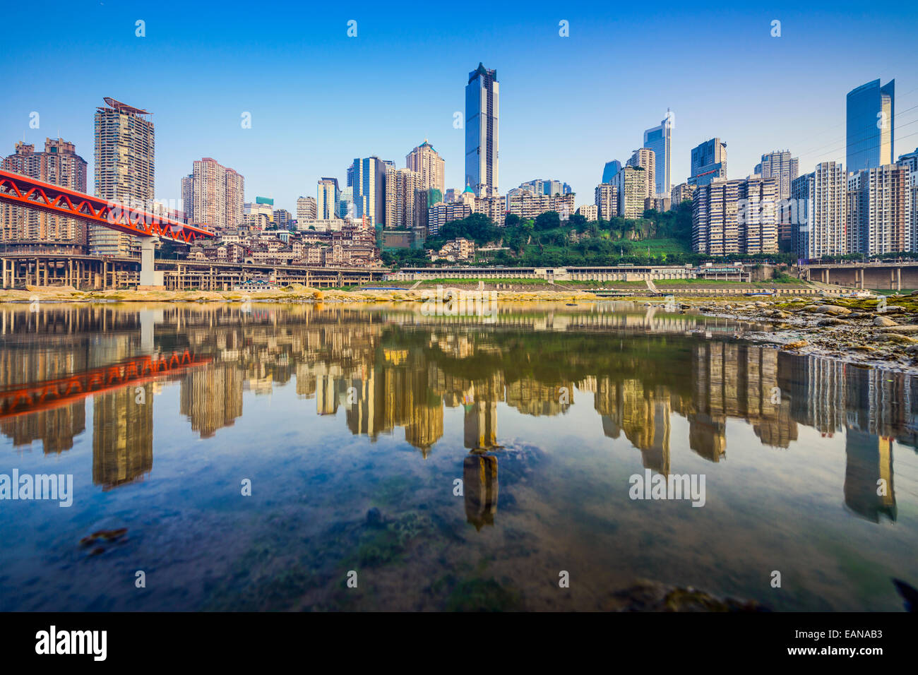 Chongqing, China city skyline on the Jialing River. - Stock Image
