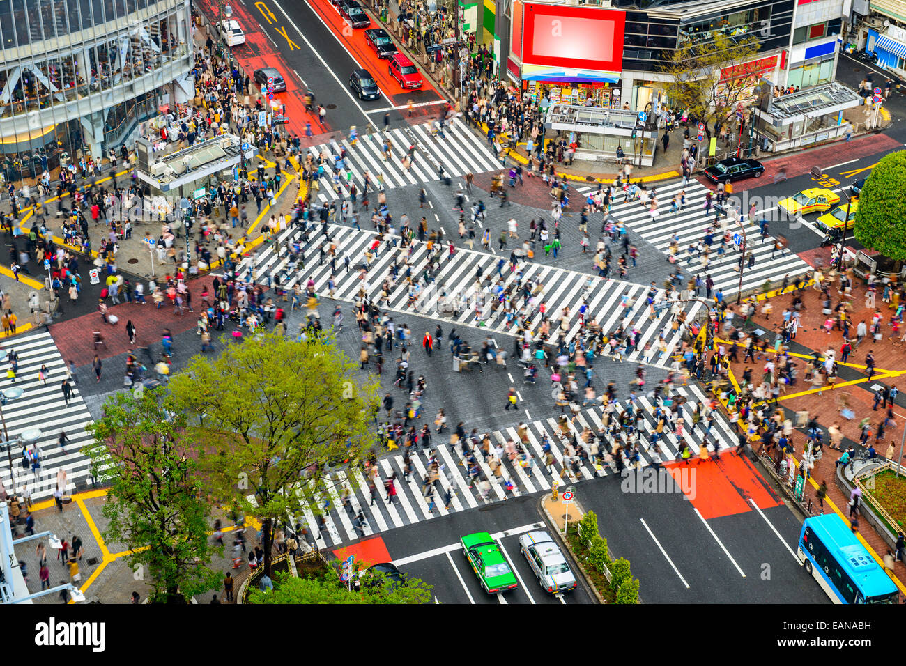 Tokyo, Japan view of Shibuya Crossing, one of the busiest crosswalks in the world. - Stock Image