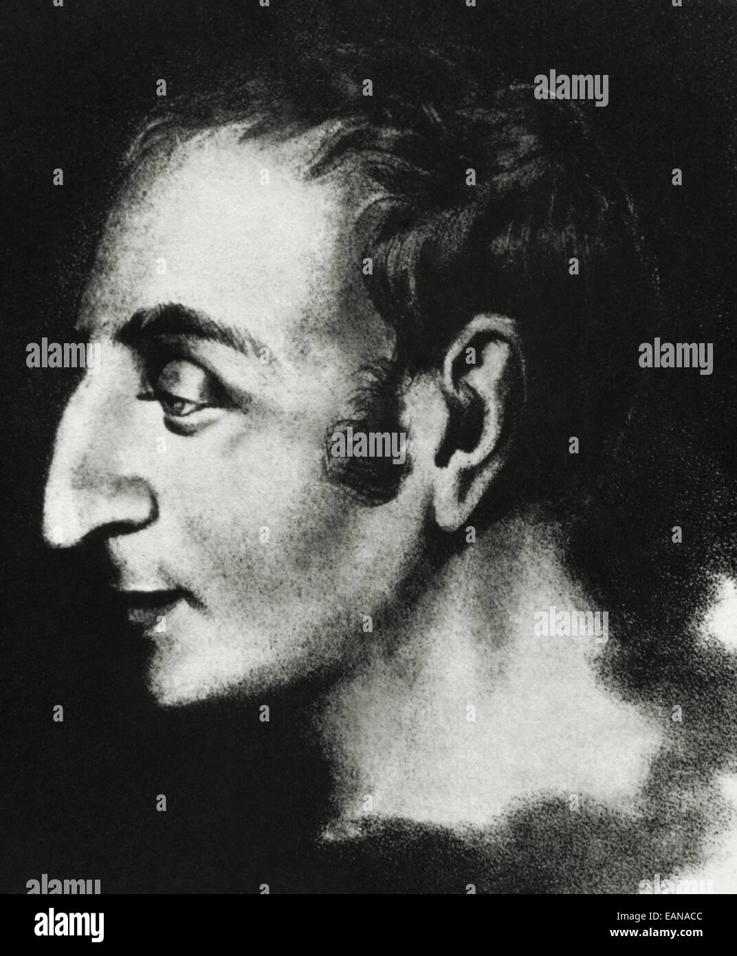 Henri de  Saint-Simon (1760- 1825). French early socialist theorist. Portrait. Drawing from an original in 1825, - Stock Image