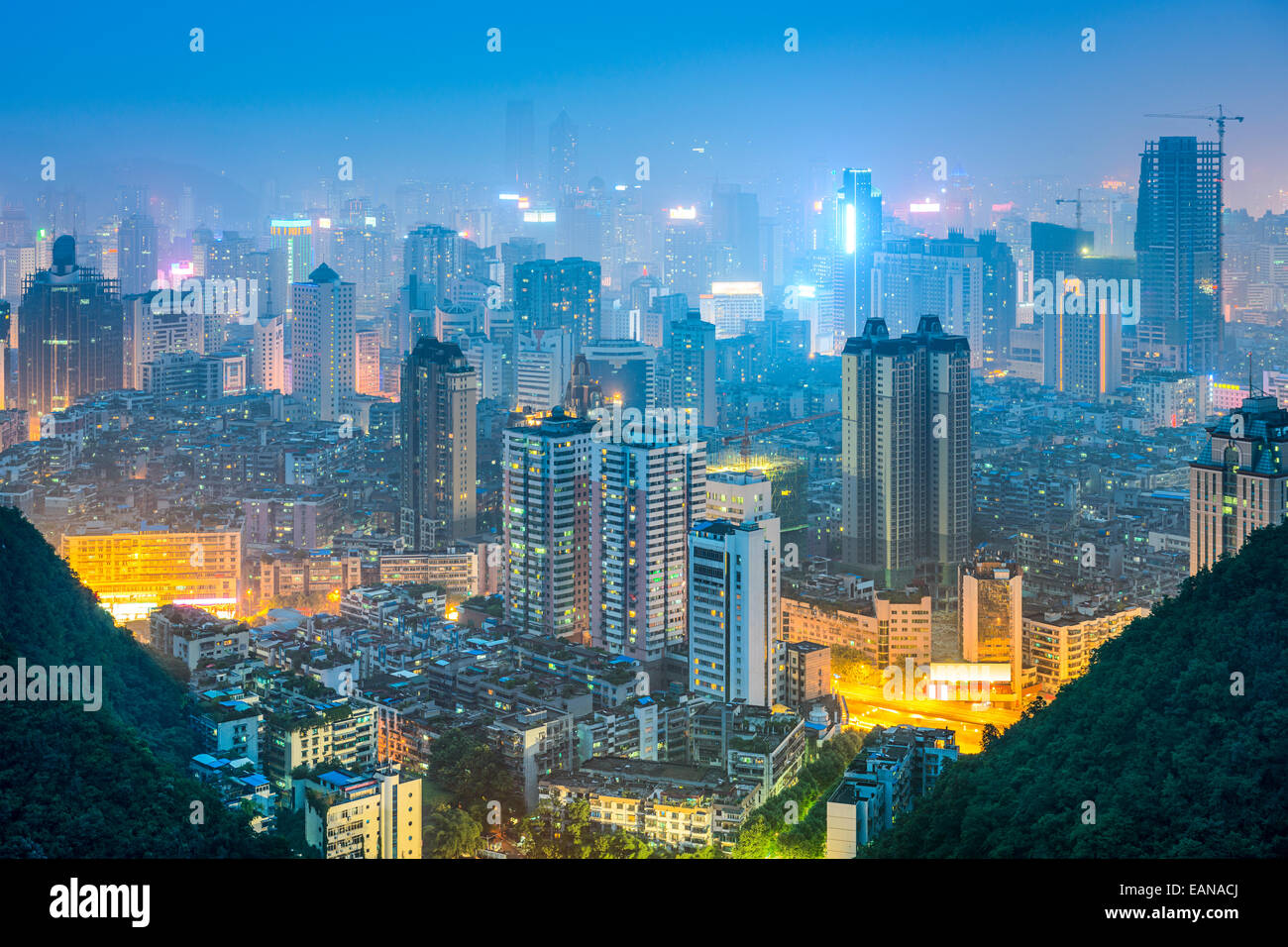 Guiyang, Guizhou, China downtown city skyline. - Stock Image