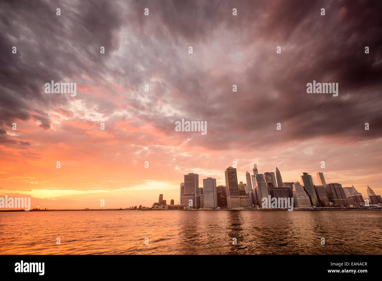 New York City, USA city skyline of Lower Manhattan at sunset. - Stock Image
